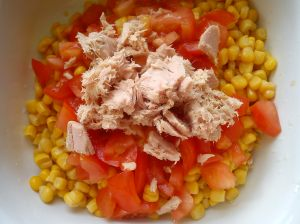 Corn, tomato, tuna