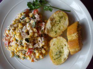 Tuna, corn, mayo , garlic bread