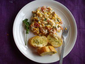 Tuna sweetcorn and garlic bread