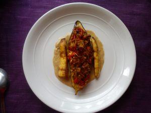 Aubergine, plantain, peanut butter sauce