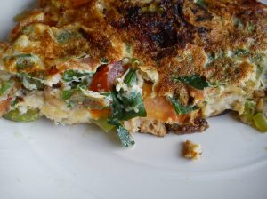 Potatoes, leek and tuna frittata