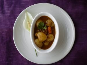 Beef casserole with baby potatoes
